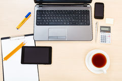 Business still life - above view of working place Royalty Free Stock Image