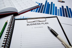 Business still life with business plan Stock Photography