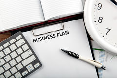 Business still life with business plan Stock Image