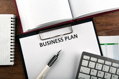 Business still life with business plan Royalty Free Stock Images