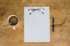 Business still life with empty sheet paper for copyspace Royalty Free Stock Photography