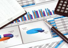 Business Still Life with Graphs Royalty Free Stock Images