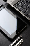 Laptop, tablet, fountain pen Stock Photos