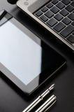 Laptop, tablet, fountain pen Stock Photos
