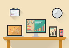 Business stock exchange on various media devices. Flat style design Royalty Free Stock Images