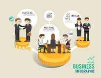 Business stock market board game flat line icons concept. Infographic step to successful,vector illustration Stock Photography