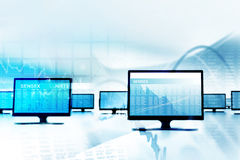 Business stock market graph with monitor Stock Photography