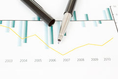 Stock market graphs with pen Stock Images