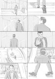 Business storyboards. Man walks into a building royalty free illustration