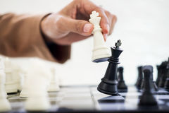 Business Strategic Formation in the chess game king is checkmate. D game over Stock Photos