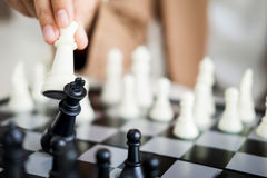 Business Strategic Formation in the chess game king is checkmate. D game over Royalty Free Stock Photos