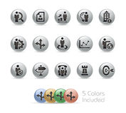 Business Strategies Icons -- Metal Round Series. The Vector file includes 5 color versions for each icon in different layers Royalty Free Stock Images