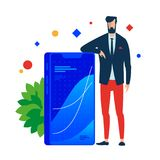Business strategist. Smartphone with the chart of success. royalty free illustration