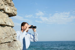 Business strategy. Businessman realizing aggressive business strategy Royalty Free Stock Photography