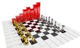 Business strategy. Business bars with ches game Stock Photo