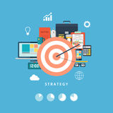Business strategy and activity. Office objects. Vector illustration. Royalty Free Stock Photo