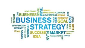 Business Strategy Animated Tag Word Cloud,Text Design Animation seamless loop.