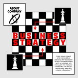 Business strategy banner. Chess metaphor with king figure and chessboard. Place for own text, company presentation. Red. Inscription Business strategy. Vector royalty free illustration