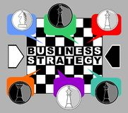 Business strategy banner. Chess metaphor with king, queen, rook and knight od chessboard. Chess pieces in multicolored. Speech bubbles. Inverse inscription royalty free illustration