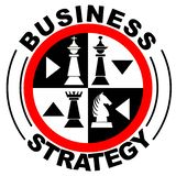 Business strategy banner in with chess pieces in red circle,. Vector illustration royalty free illustration