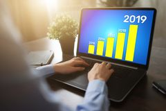 Business strategy chart on 2019 year. Financial growth concept on screen. Business strategy chart on 2019 year. Financial growth concept on screen stock photos