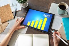 Business strategy chart on 2019 year. Financial growth concept on screen. Business strategy chart on 2019 year. Financial growth concept on screen royalty free stock photos
