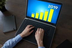 Business strategy chart on 2019 year. Financial growth concept on screen. Business strategy chart on 2019 year. Financial growth concept on screen royalty free stock photography