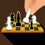 Business strategy with chess figures of chess. On brown background. Contains EPS10 and high-resolution JPEG Stock Photography