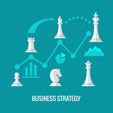 Business strategy with chess flat vector concept. Chess strategy for business, illustration infographic and plan strategy Royalty Free Stock Photos