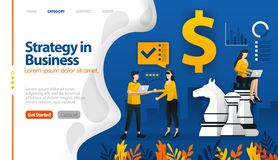 Business strategy with chess and money, marketing planning vector illustration concept can be use for, landing page, template, ui. Ux, web, mobile app, poster stock illustration