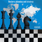 Business strategy. Chess on the world map. Business planning and strategy. The chess pieces on the world map. Management and achievements. Smart solutions Royalty Free Stock Image