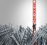 Business Strategy Concept. With a businessman climbing a ladder with 3D illustration elements Stock Image