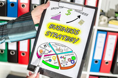 Business strategy concept on a clipboard Royalty Free Stock Photos