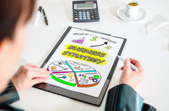 Business strategy concept on a clipboard Royalty Free Stock Photo