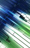 Business Strategy Concept. 3D Illustration. Shiny Metallic Blue and Green Abstract Bars with Rays and Business Tags on it. Vertical Design Royalty Free Stock Photo