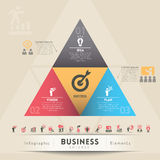 Business Strategy Concept Graphic Element. 3 Step Strategy for Successful Business Stock Photo