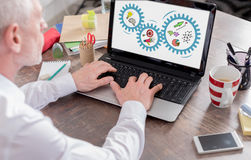 Business strategy concept on a laptop screen Royalty Free Stock Photography