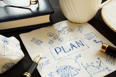 Business strategy concept. Plan written on the napkin. Business strategy concept. Plan written on a napkin royalty free stock images