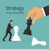 Business strategy concept. Business strategy. Strategist holding in hand chess figure black king. Victory in battle. Concept planning and management. Vector Royalty Free Stock Images
