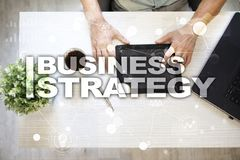 Business strategy concept on the virtual screen. Business strategy concept on the virtual screen Royalty Free Stock Photos