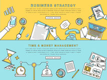 Business strategy and creative process. Concepts for business strategy and creative process in line style Royalty Free Stock Photo