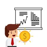 Business and strategy design. Businessman with gold coin and chart with statistical analysis over white background. business and strategy design. vector Stock Images