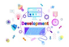 Business Strategy Development Concept Project Planning Banner. Vector Illustration Royalty Free Stock Photos