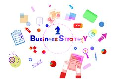 Business Strategy Development Concept Project Planning Banner. Vector Illustration Royalty Free Stock Image