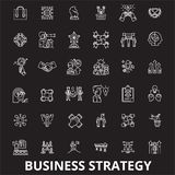 Business strategy editable line icons vector set on black background. Business strategy white outline illustrations. Signs,symbols stock illustration