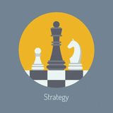 Business strategy flat illustration. Flat design modern vector illustration concept of business strategy with chess figures on a chess board. Isolated in round Stock Photography