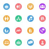 Business strategy flat white icons set 16. Pieces with colored circles on a white background Vector Illustration