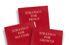 Business strategy folders. Titled Strategy for success, growth and profit. Isolated on white background Royalty Free Stock Photography