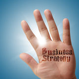 Business strategy on his hand Royalty Free Stock Photo