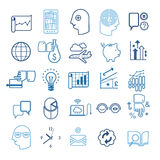 Business Strategy Icon Set. Set of 25 business and strategy line  icons including abstract symbols of team work, success, planning and investments Royalty Free Stock Photography
